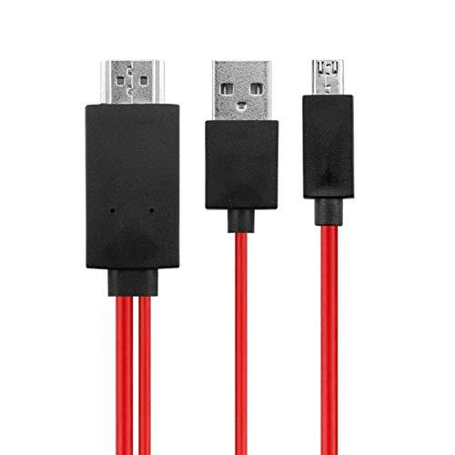 Cable Hdmi para teléfono Android a TV, cable adaptador de 2 m, rojo, 11 pines, micro USB MHL a HDMI 1080P HDTV AV para tableta de teléfono Android,