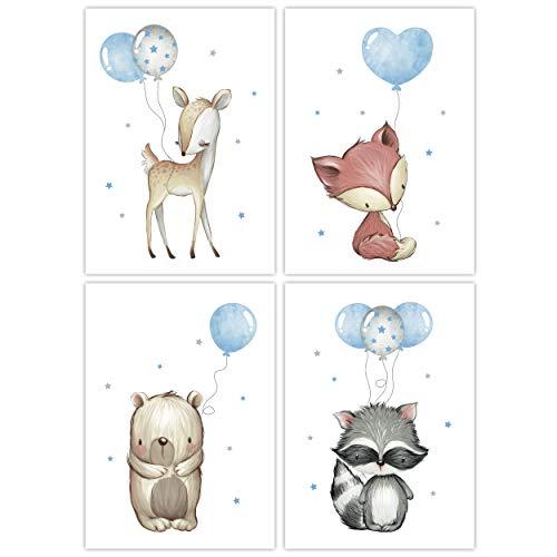 Pandawal Kinderzimmer Deko grau blau 4er Set Bilder Kinder Poster Tiere Tierposter Luftballon Ballon Farbwahl Bär Fuchs Reh Waschbär DIN A4 (21 x 29,7 cm) T30