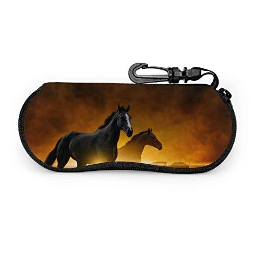 Running Walk Horse Animal Wild Modern Estuche para anteojos Estuche para gafas de sol para mujeres Estuche blando de neopreno portátil ligero con cremallera Estuche para anteojos para niños