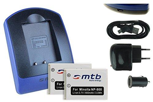 2 Baterìas + Cargador (USB/Coche/Corriente) para NP-900, LI-80B / Konica Minolta/Medion/Olympus/Rollei/Traveler. - Siehe Kompatibilitätsliste!