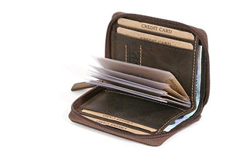 LEAS Kreditkartenmappe mit umlaufenden Reißverschluss u. Scheinfach Echt-Leder, braun Vintage-Collection