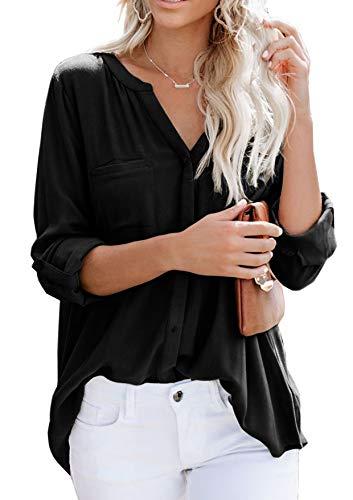 Ehpow Damen Bluse Langarm V-Ausschnitt Bluse Einfarbig Casual Button Down Oberteile Blusen Shirts(Small,Schwarz-1)