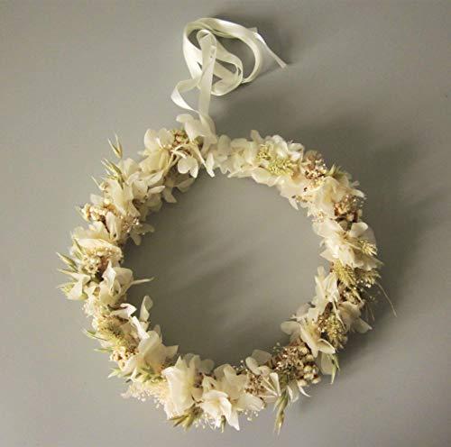 Corona de hortensia blanca, glixia, avena.