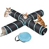 Túnel de gato de 4 vías, túnel de juguete para mascotas, tubo de túnel interior plegable grande para mascotas #XZ