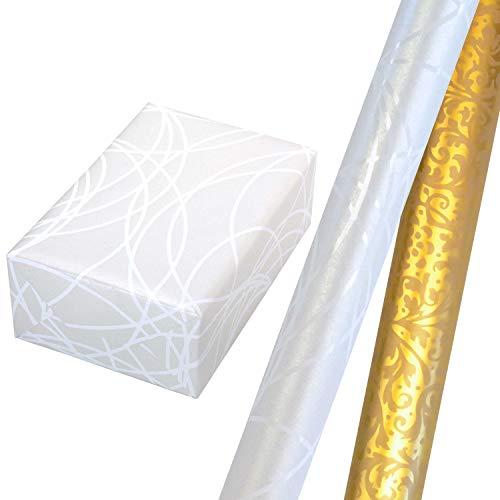 Geschenkpapier Set 2 Rollen (75 x 150 cm), weiße Lack-Linien auf Perlglanzhintergrund + Ornament in crème, auf Perlglanz veredeltem goldenem Hintergrund. Für Geburtstag, Weihnachten, Hochzeit.