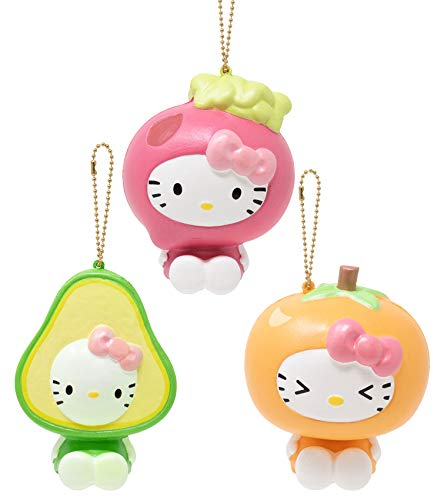 Sanrio Officially Licensed Hello Kitty Fruit and Veggie Cute Slow Rising Squishy Toy (Avocado Persimmon Beet 3 Piece Set) [Birthday Gift Box Party Favors Gift Basket Filler Stress Relief Toys]
