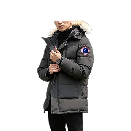 Men's Winter Coat Water-Repellent Windproof Fur Hooded Thicken Long Parka Puffer Jacket (Gray-1, M)