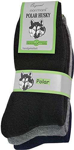 Polar Husky® 6 Paar Nie Wieder Kalte Füße Winter Socken, super dick & sehr warm! Farbe Schwarz-Grau-Blau Größe 47-50