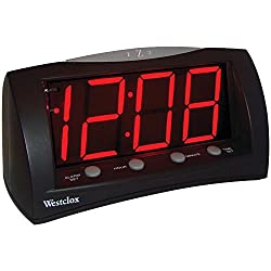 Westclox 66705 Oversized Snooze Alarm Clock, Black, 1.8