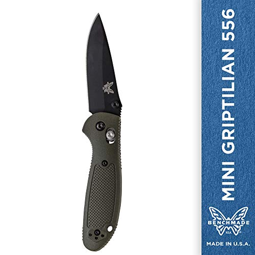 Benchmade - Mini Griptilian 556 EDC Manual Open Folding Knife Made in USA, Drop-Point Blade, Plain Edge, Coated Finish, Olive Handle