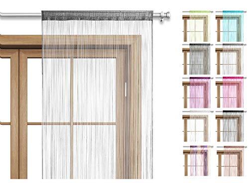 wometo Fadenvorhang Türvorhang Fäden 90x245 cm grau - Stangendurchzug OekoTex kürzbar waschbar Uni einfarbig in vielen bunten Farben