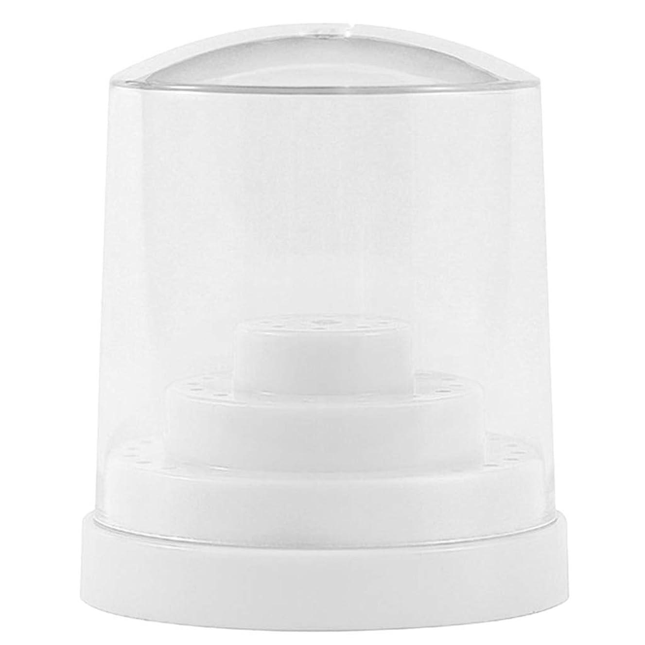 Perfeclan 三層48穴 ネイルドリルビットホルダー アクリル製 ネイルマシーン用ビットスタンド 防塵 全2色 - ホワイト