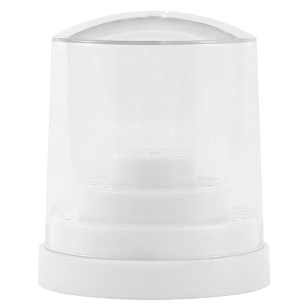 ブローホール恐れるリブPerfeclan 三層48穴 ネイルドリルビットホルダー アクリル製 ネイルマシーン用ビットスタンド 防塵 全2色 - ホワイト