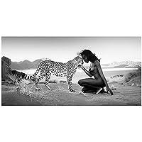 ウォールアート、ブラックホワイト自然景観ポスタープリントキャンバス絵画ユキヒョウ女性画像リビングルームの装飾フレームなし