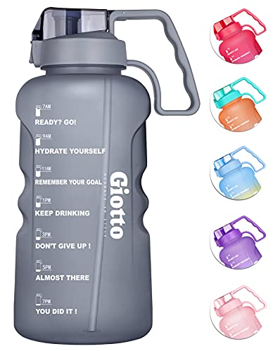 Giotto 64 oz/Half Gallon Motivational Water Bottle with Time Marker & Removable Straw,Leakproof BPA Free Wide Mouth Sports Water Jug with Handle to Remind You Drink More Water and Hydrate in Style
