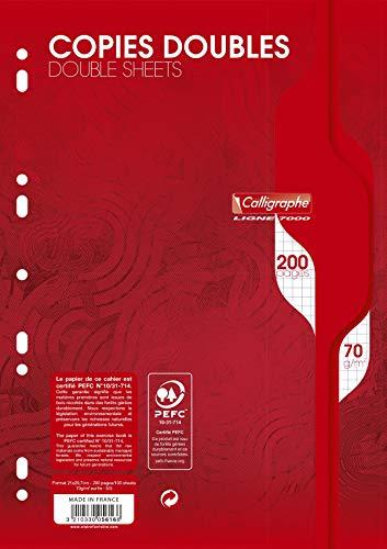 Caligraphe - Calligraphe 7013 - 5616 - Copies doubles perforées - 4 trous - 200 pages petits carreaux - Format A4 - 70 g
