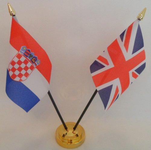 Croatie croate drapeau Union Jack 2 amitié Tableau d'affichage avec Base dorée
