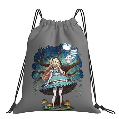 Mochila de anime Alicia en el país de las maravillas, con cordón para la boca, portátil, para niños, niñas, escuela, colegio, mochila unisex
