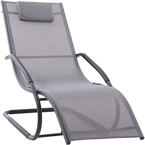 Vivere WAVELNG1-GB Wave Chaise Longue Aluminium Gris 168 x 61 x 91 cm