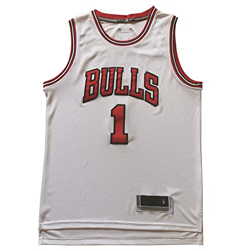 XSJY Uomo Maglie - Chicago Bulls # 1 Derrick Rose Vintage Maglie, Respirabile Freddo Tessuto Swingman di Pallacanestro Maglie Canotta T-Shirt,C,XXL:185~190cm/95~110kg