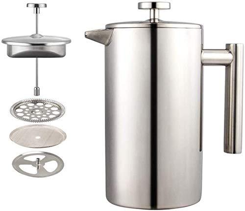 Küche Französisch Tee Maker Edelstahl Silber Doppelschicht Französisch Pressetopf Haushaltsfilter Drücken Sie Kaffee Pot für Zuhause und Büro XMJ (Size : 800ml)