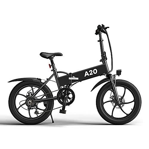 ADO A20 Elektrische Fahrräder for Erwachsene, 20 Zoll Elektrofahrrad,7-Gang-Getriebe 36V Hall Brushless Gear DC Motor (schwarz)