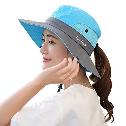 HGGE Sombrero de Verano para Mujer, ala Ancha, protección UV, con Agujero para coleta - Azul - Talla única