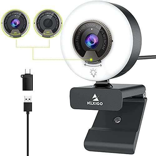 2021 Webcam AutoFocus de 60FPS con Luz de Anillo y Cubierta de Privacidad, NexiGo N620E 1080P Cámara Web, Micrófonos...