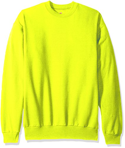 Hanes Men's EcoSmart Fleece Sweatshirt, Safety Green, Large