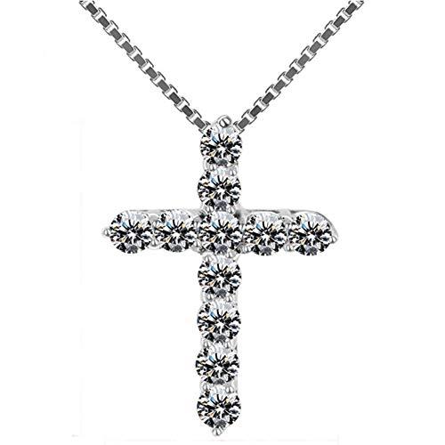 miaoss Lucky Vrouwelijke Kruis Kristallen Hangers Zilveren Kettingen 5A Glanzende Zirkonia Choker Kettingen Mode Sieraden Geschenken Voor Vrouwen