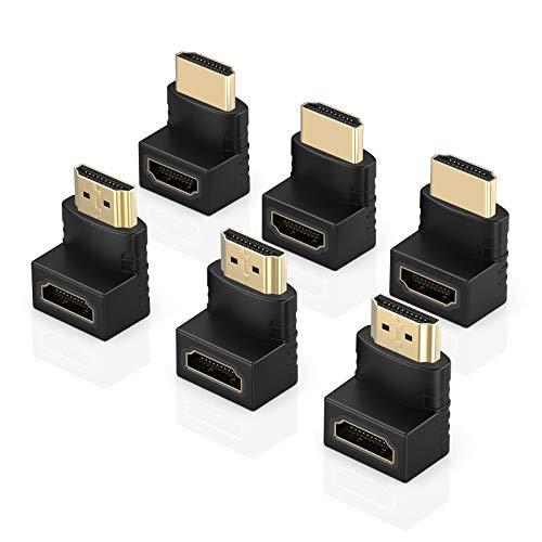 ELUTENG 6 Stück HDMI Winkelstecker 90 und 270 Grad Abgewinkeltes HDMI Adapter Typ-L 4K HDMI Winkel Stecker auf Buchse Adapter für HDTV, DVD-Player, Blu-Ray Player,PS4, XBox, PC, Audio-Receiver u.s.w