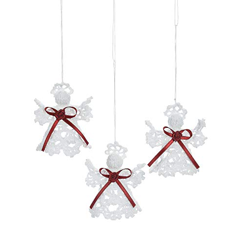 Fun Express Crocheted Angel Ornaments (Set of 12) Christmas Tree Decorations