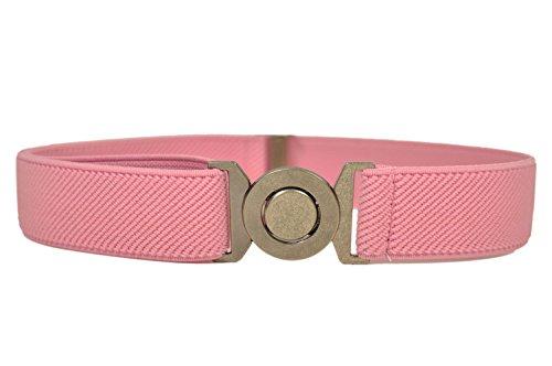 Cinturón Elástico para los Niños 1-6 Años, Ronda Hebilla Diseño. Rosa Claro