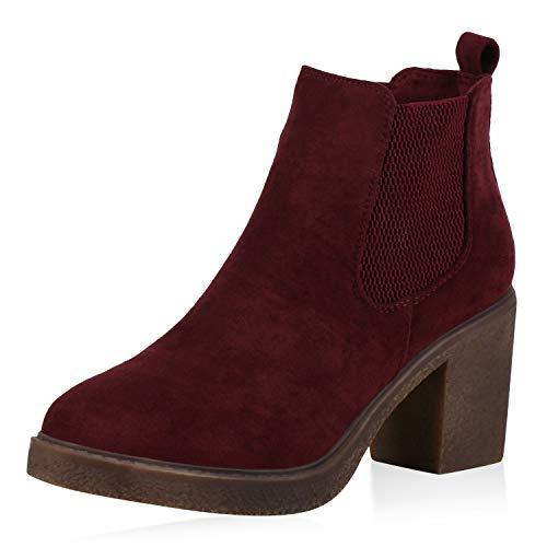 SCARPE VITA Damen Stiefeletten Chelsea Boots Wildleder-Optik Schuhe Mid Heel Kurzschaft-Stiefel Plateau Booties Blockabsatz 173090 Dunkelrot 40
