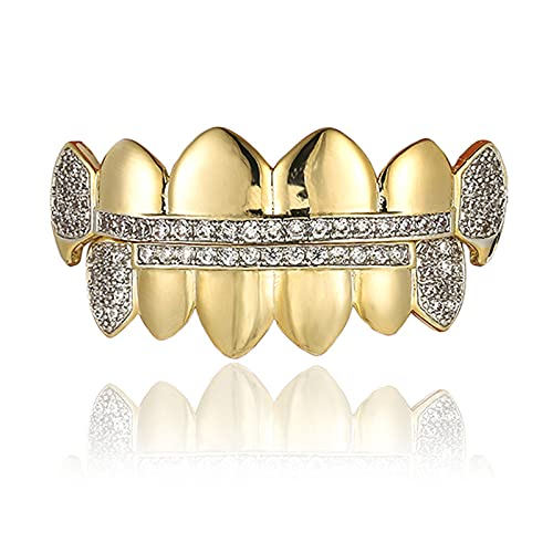 Hip Hop Style Tooth Shiny Teeth Grillz Braces Top and Bottom Set Golden Teeth with Food Grade Silicon Molding Bars Best Gift for Rapper Party Music Festival for Men Women Vampire Fangs