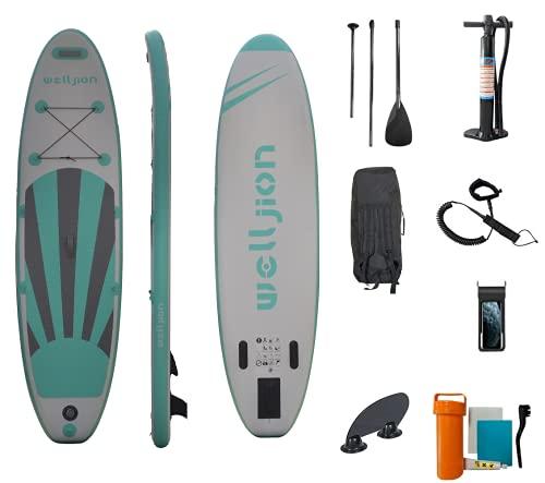 Radelldar Tabla Paddle Surf Hinchable Sup Surf Paddle Tabla de Stand Up Paddling 305 x 76 x 15 cm con Remo Ajustable Bomba Correa de Transporte Caja de Reparación Mochila (Verde)