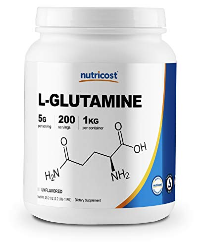 Nutricost L-Glutamine Powder 1 KG - Pure L Glutamine, 5000mg per Serving, Non-GMO, Gluten Free