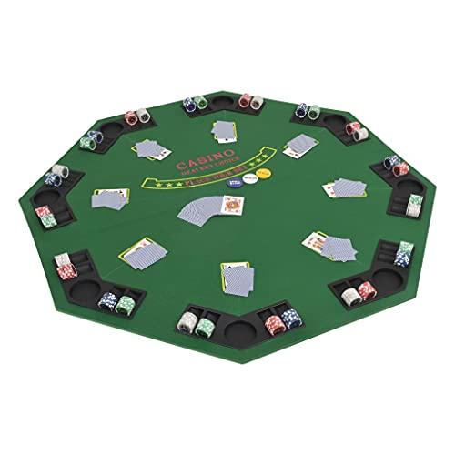 LONGMHKO Tablero de póker Plegable en 2 para 8 Jugadores Octogonal Verde Tamaño: 120 x 120 cm (Anchura x Longitud)