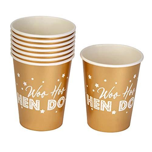 Neviti 776094 - Bicchieri di carta Woo Hen, confezione da 8, colore: oro, 7,5 x 7,5 x 9 cm