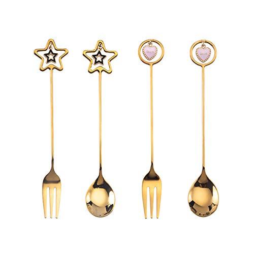 SHIFWE - Juego de 4 colgantes con diseño de estrellas de dibujos animados, cuchara de café de acero inoxidable, cuchara de postre, cuchara de té o hielo