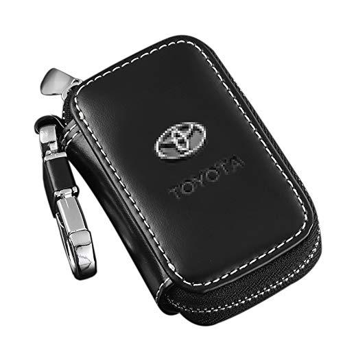 Zepthus Black Car Key Chain Bag Premium Leather Car Key Chain Coin Holder Zipper Case for Auto Remote Key Fob (Toyota)