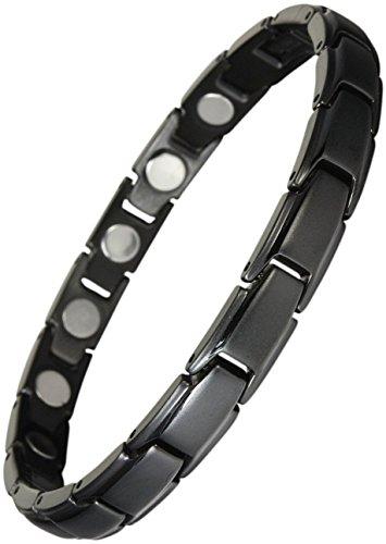 Original YINGA-VITAL® Magnetschmuck. Extrastarkes Damen Magnet Armband. 16 Magnete mit je 4000 Gauss. Magnetarmband im Stil Schwarz. Länge: 19.5 cm