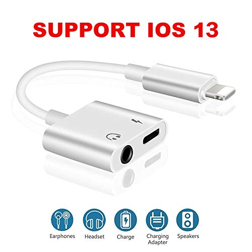 Headphone Adapter for iPhone 3.5 mm Audio Splitter Adaptor, 2 in1 Dual Ports Dongle Charger Jack AUX Audio 3.5 mm for iPhone 7/7Plus/8/8Plus/X/XS/XR/10/XS/11/PRO, Charger Splitter Adapter Connector