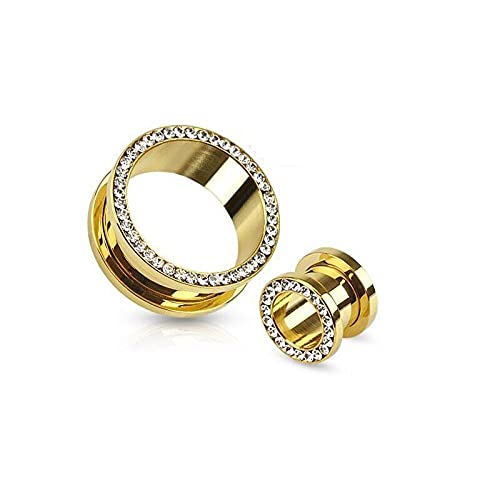 1pair Crystal Gold Color Tornillo Fit Fit Tapones Medidos Cuerpo de estiramiento Kit Piercing Flesh Tunnel Ear Expander Bar 3 ~ 20mm-20mm