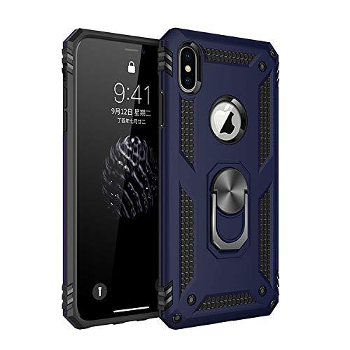 BestST Funda iPhone XS MAX con Anillo Soporte, con HD Protector de Pantalla, Robusta Carcasa Híbrida TPU + PC de Doble Capa Anti-arañazos Caso para Apple iPhone XS MAX,-Azul