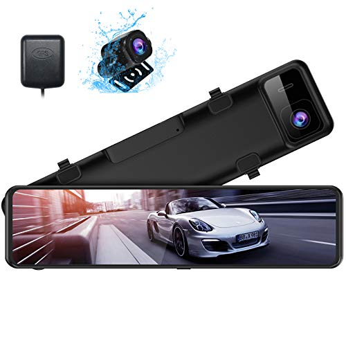 XTU 2.5K Mirror Dash Cam for Cars with 12'' IPS Touch Screen,Front and Rear View Mirror Camera Waterproof Backup Camera,Sony Starvis Sensor,Enhanced Night Vision,Parking Assistance and GPS Included