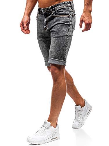 BOLF Hombre Pantalón Corto Vequero Denim Regular Estilo Diario TMK Jeans 7796 Negro 36 [6F6]