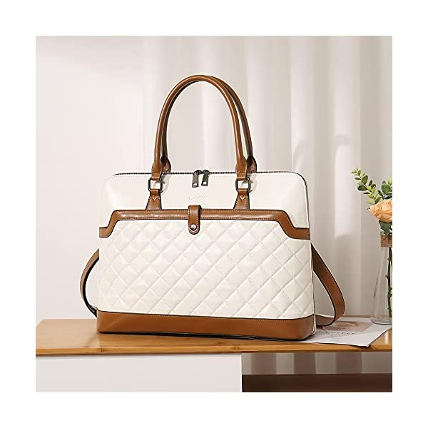 CLUCI Briefcase for Women Oil Wax Leather 15.6 Inch Laptop Slim Business Large Capacity Ladies Shoulder Bags