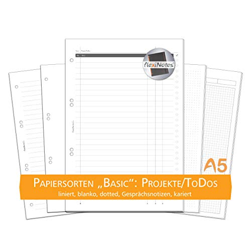 flexiNotes PAPIER A5, 75 Blatt Notizpapier Typ: Basic, Projekte/ToDos