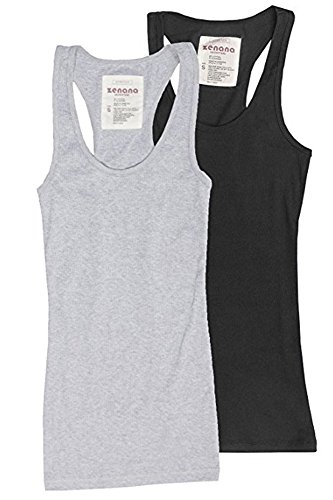 Zenana Outfitters Trendyfriday Womens Must Have Essential Basic Ribbed Tank Tops, Small Black, H Gray
